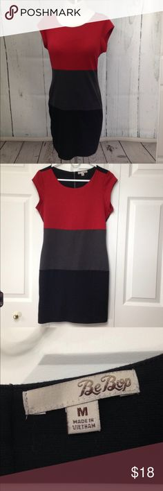 "🆕 Listing! BeBop Color Block Dress Red, charcoal and black color blocks on this cute dress made of poly/rayon/spandex for comfort and easy fit. Cap sleeves. Excellent condition. Measurements laying flat: chest 17"", waist 14.5"", approximate hip 16.5, bottom width 17"", length 33"". BeBop Dresses"