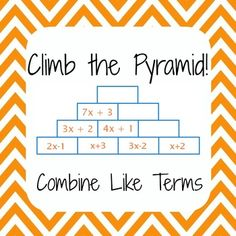 Common Core – Simplify Expressions, Combine Like Terms – Climb the Pyramid! – Angela L Common Core – Simplify Expressions, Combine Like Terms – Climb the Pyramid! Simplify Expressions, Combine Like Term Algebra Activities, Maths Algebra, Math Resources, Math Worksheets, Math Games, Math Teacher, Math Classroom, Teaching Math, Classroom Ideas