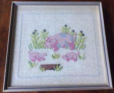 Vintage Counted Cross Stitch Pigs Piggies Framed Non Glare Glass Craft Decor in Crafts, Needlecrafts & Yarn, Embroidery & Cross Stitch   eBay!