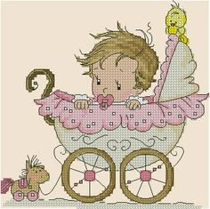 Baby in Pram Cross Stitch Baby, Cross Stitch Charts, Cross Stitch Designs, Cross Stitch Patterns, Cross Stitching, Cross Stitch Embroidery, Free Baby Stuff, Baby Design, Handmade Baby