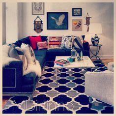 Hip and modern living room design set off by the global inspired Surya Frontier rug. From designer Francesca Dininno. (FT-66) @Francesca Galafti Dininno