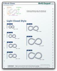 S Hook Size Chart