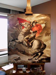 """Kopie naar een werk van Jacques-Louis David, """"Napoleon steekt de Grote St. Bernardpas over"""" 90 x 102 cm Olieverf op doek"""