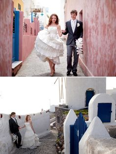 Gorgeous wedding in Santorini, Greece.