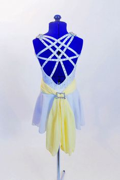 White lace leotard with woven crystal covered straps, white chiffon skirt & buttercream yellow hip sash accented with large crystal buckles & floral hair piece. White Chiffon, Chiffon Skirt, White Lace, White Dress, Dance Outfits, Dance Dresses, Dance Costumes Lyrical, Lyrical Dance, Lace Leotard
