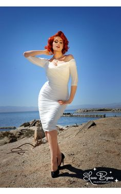 Laura Byrnes- Monica Dress in Off-White Matte Jersey Knit | Pinup Girl Clothing
