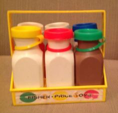 Vintage Fisher Price Toys Milk Orange Bottles Jugs With Carrier 1970's Play Food
