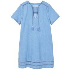 Medium Denim Dress (€41) ❤ liked on Polyvore featuring dresses, v-neck dresses, blue dress, pom pom dress, blue v neck dress and short sleeve dress
