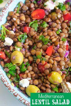 Lentil Salad Recipes, Healthy Salad Recipes, Vegan Recipes, Healthy Dinners, Healthy Food, Healthy Eating, Salad Recipes Video, Mediterranean Diet Recipes, Dinner Salads