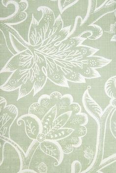 Jacobean at Night Linen Fabric Large floral design in white printed on sage green linen fabric. fabricsandlnens.com