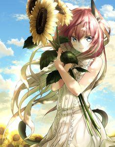 yande.re 367414 sample animal_ears dies_irae dress mia_(gute-nacht-07) nekomimi summer_dress tail.jpg (1176×1500)