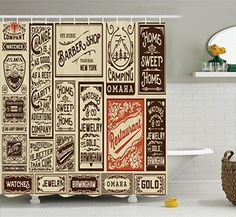 Antique Shower Curtain Decor By Ambesonne Mega Pack Old Advertisement Designs And Labels Collections Newspaper