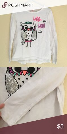 Owl long sleeve shirt This adorable Owl shirt would love a new little girl to spend time with! Sparkly wings n tail give it super charm! 2 small spots on the underside of left arm (see photo). Okie Dokie Shirts & Tops Tees - Long Sleeve