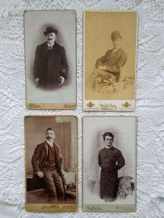 4 pcs. antique Hungarian cabinet photos, men, gentlemen, hat, moustache 1900s' Victorian Parlor, Austro Hungarian, South Pacific, Moustache, Gentleman, Native American, Cabinet, Antiques, Hats