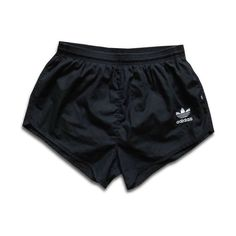 VINTAGE ADIDAS TREFOIL..38 80's BLACK LINED RUNNING SHORTS COTTON TRACKSUIT featuring polyvore women's fashion clothing shorts bottoms adidas jeans // skirts // shorts
