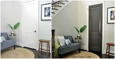 Black interior doors can really change the feel of things -- before & after.  From Honey We're Home: Black/Gray Painted Interior Doors