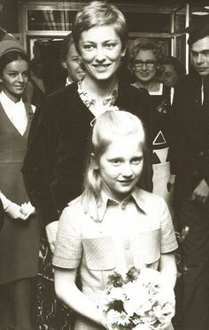 Princess Paola of Liege, later Queen of Belgium, with daughter, Princess Astrid. Early 70s.