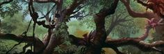 """Background painting from """"The Jungle Book"""" Book Background, Cartoon Background, Animation Background, Background Pictures, Disney Concept Art, Disney Art, Disney Pixar, Forest Mural, Jungle Art"""