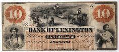 North Carolina Obsolete Currency Bank of Lexington Ten Dollar Note