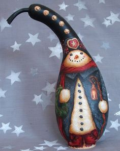 Jolly, snowman gourd, hand painted, 10 1/2 inches tall