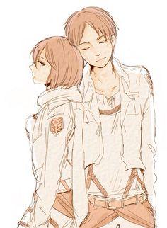 Mikasa Ackerman and Eren Jaeger.