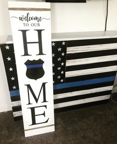 Front Porch Sign, This is our home (with police shield) - - Sanded, painted and sealed sign for indoor/outdoor use. Made to order, can customize anyway you want! Wooden Welcome Signs, Porch Welcome Sign, Diy Wood Signs, Rustic Wood Signs, Pallet Signs, Home Wood Sign, Country Wood Signs, Welcome Home Signs, Police Sign
