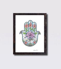 Floral Tattoo Hamsa Hand Wall Decor, Print On canvas Hamsa Hand, Lilium Flowers drawing, Zentangle Drawing Hamsa Hand Art Ethnic Wall Decor by DHANAdesign on Etsy