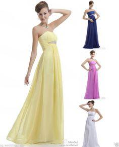 Faironly Strapless Chiffon Formal Evening Bridesmaid Dress Size 6 8 10 12 14 16