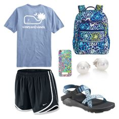 """""""lazy preppy outfit"""" by zoii42 on Polyvore featuring NIKE, Chaco, Lilly Pulitzer, Mikimoto and Vera Bradley"""