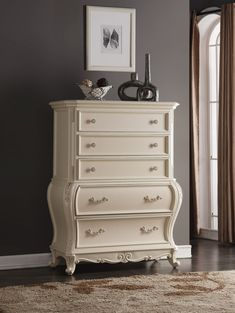 Lowest price on Meridian Marquee Pearl White Chest Marquee-CH. Meridian Furniture, White Chests, Dresser As Nightstand, Accent Pieces, Pearl White, French Country, Design Trends, Contemporary, Interior