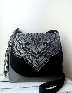 Black gray crossbody bag Evening black bag Medium crossbody bag Oriental bag Sling crossbody bag Vegan bag  Festival bag Valentines gift