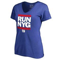 New York Giants Pro Line Women's RUN-CTY Slim Fit V-Neck T-Shirt - Royal - $31.99