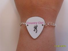 Pink Country Girl browning deer symbol white guitar by featherpick, $10.00