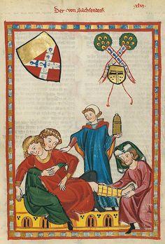 Codex Manesse 158r Der von Sachsendorf - Codex Manesse - Wikimedia Commons