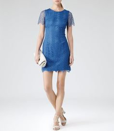 NWT $345 REISS Lark Bright Blue Lace Overlay Scalloped Edge Sheath Dress 0 - XS #REISS #SheathWigglePencil #Cocktail