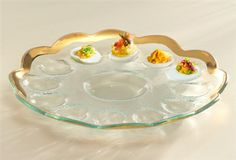 Roman Antique Deviled Egg Platter by Annieglass. What a beautiful way to set the Easter Table, and it makes an excellent wedding gift! Rimmed in either 24K Gold or Platinum.