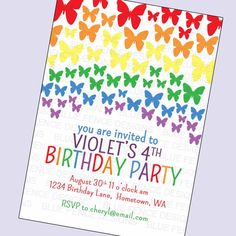 Free rainbow party invitation ruby and the rabbit rainbow party girl birthday party invitation rainbow girl birthday invite butterfly birthday first birthday stopboris Gallery