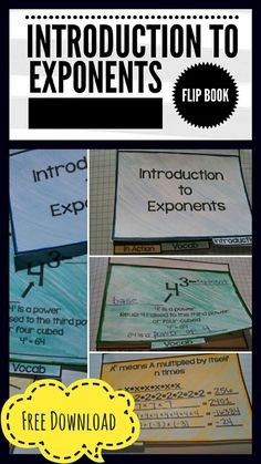 Free Printable introduction to Exponents Flip Book. Easy to use, directions… Algebra Activities, Math Resources, Classroom Resources, School Classroom, Math Games, Classroom Ideas, Teaching Schools, Teaching Math, Teaching Ideas