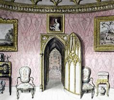 """""""The ceiling is taken from a round window in old St Paul's' The Round Room, Strawberry Hill. Gothic Revival Architecture, Georgian Architecture, Vintage Architecture, Strawberry Hill House, Gothic Castle, English Decor, American Gothic, Regency Era, Westminster Abbey"""
