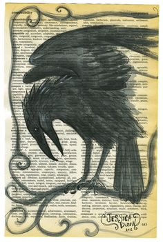 Crows Ravens: #Raven Portrait, Original Painting on a Dictionary Page.