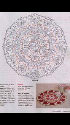 Mandala a crochet Motif Mandala Crochet, Free Crochet Doily Patterns, Crochet Circles, Crochet Motifs, Crochet Squares, Thread Crochet, Crochet Stitches, Filet Crochet, Crochet Diagram