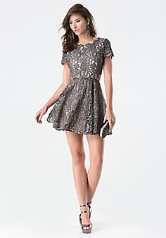 3a4066f091 Foil Lace Cutout Dress Western Lace Dresses