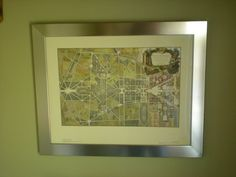 All About Vignettes: Unique Framing Ideas for Maps Versailles 1746 in stainless steel frame.