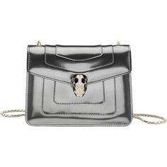 BVLGARI Serpenti Forever patent-leather shoulder bag ($1,815) ❤ liked on Polyvore featuring bags, handbags, shoulder bags, silver, bulgari handbags, clasp purse, patent leather purse, shoulder strap handbags and bulgari
