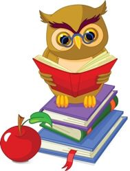 Kids and Animals in school - cartoons: Cartoon wise owl. sitting on Pile book and red apple Free Kids Books, Online Books For Kids, Article Grammar, Childrens Ebooks, Owl Cartoon, Royalty Free Clipart, Ebooks Online, Owl Crafts, Wise Owl