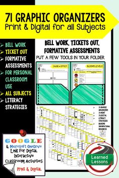 Science Notebook Graphic Organizers - Digital Graphic Organizers, Bell Work, Ticket Out, Formative Assessment, & Print Literacy Strategies, Bell Work, Formative Assessment, Elementary Science, Physical Science, Classroom Organization, Classroom Ideas, Life Science, Earth Science