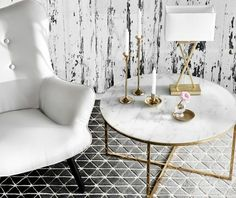 table basse ronde, plateau en marbre / marble