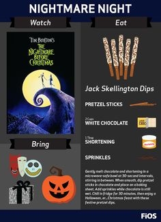 it a Halloween movie? Is it a Christmas film? We think The Nightmare Before Christmas is the perfect blend of both. Whenever you watch it, having these tasty treats as a sidekick will surely make you the Treat King of Snack Town. Halloween Movie Night, Halloween Games, Holidays Halloween, Halloween Party, Outdoor Movie Nights, Dinner And A Movie, Dinner Themes, Family Movie Night, Movie Themes