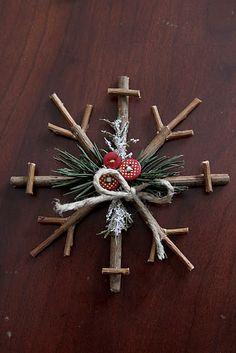vánoční vločka z větviček