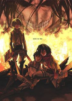 SNK | Eren | Levi | Mikasa That says a lot about their relationships